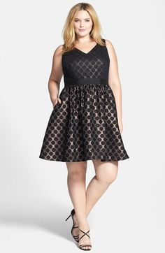 Adrianna Papell V-Neck Metallic Fit & Flare Dress (Plus Size) available at #Nordstrom