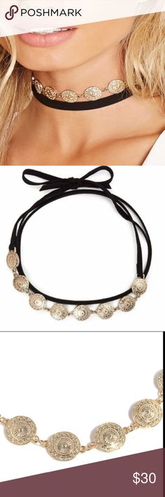 Gold boho lace around suede black choker necklace Never used. Must have for summer! Nasty Gal Jewelry Necklaces