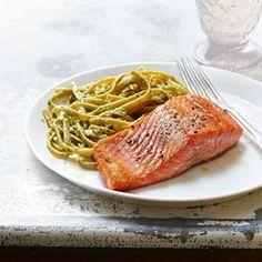 Seared Salmon with Pesto Fettuccine - EatingWell.com