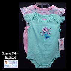 "Swiggles 3-6m Infant Girl ""Mermaid"" 3pc Bloomer Outfit Set NEW W/Tag $6"