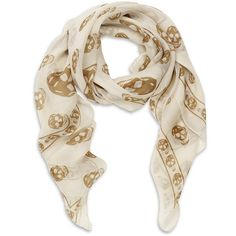Alexander McQueen Silk Chiffon Skull Scarf ❤ liked on Polyvore