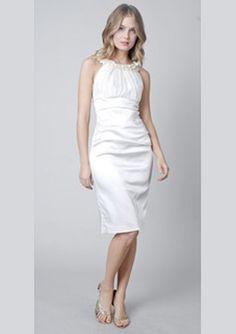 $161.85 Sheath Scoop Neck Knee-Length Charmeuse Cocktail Dresses For Weddings
