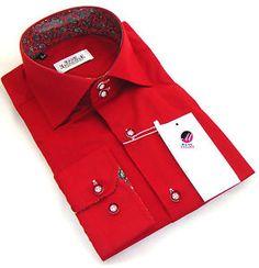 New Mens Formal Smart Italian Red Slim Fit Paisley Collar Shirt M L XXL 3XL 4XL
