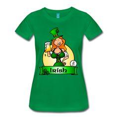 St. Patrick's Day Irish Maiden T-Shirt. #Spreadshirt #Cardvibes #Tekenaartje #Ireland #Irish #StPatricksDay