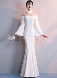 Elegant Flare Sleeve Perspective Mermaid Prom Dress The most beautiful and newest outfit ideas conti Prom Dresses Long With Sleeves, Mermaid Prom Dresses, Dress Long, Long Dresses, Fancy Dress, Dresses Elegant, Pretty Dresses, Formal Dresses, Dress Dior
