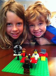Awww, Lincoln and Lily!! They have GMM legos with Rhett, Link, Jason, and the wheel!