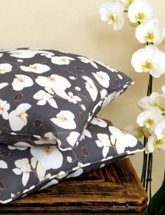 Emily Burningham Orchid Charcoal cushions