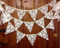 Traditional lace wedding bunting banner in ivory or white 29 flags attached side by side to 17 ft long pure cotton tape venue decoration on Etsy, £12.95