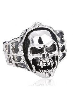 Wide Vampire Skull Vintage Titanium Steel Men's Ring