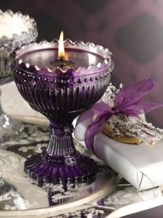 carnival glass as candle holders. Purple Love, Purple Lilac, Purple Glass, All Things Purple, Purple Rain, Shades Of Purple, Purple Stuff, Deep Purple, Chandelier Bougie