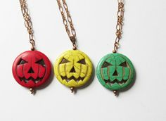 Jack-O-Lantern Necklace Red Yellow Or Green Howlite by artsix