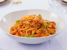 Get Crab and Cherry Tomato Fettuccini Recipe from Food Network