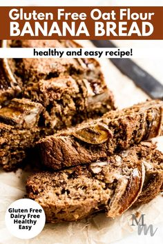 This gluten free oat flour banana bread is easy to make, healthy, and incredibly moist. It is great for breakfast, as a snack, or dessert for everyone in the family. It can also be made dairy free and vegan. Make it quickly in the oven and prep it in 10 minutes. #glutenfree #bananabread #oatflour #breakfast #movementmenu Healthy Bread Recipes, Healthy Banana Bread, Banana Bread Recipes, Real Food Recipes, Baking Recipes, Yummy Food, Healthy Eats, Free Recipes, Keto Recipes