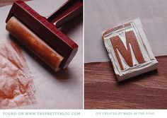 Make Your Own Letter Stamp { DIY } | http://www.madeinthefold.wordpress.com/2012/07/26/make-your-own-stamp/