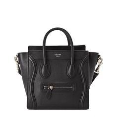 Celine Nano Shopper - Black ❤ liked on Polyvore featuring bags, handbags, tote bags, shopper purses, shopping tote bags, shopping tote, black purse e shopper handbags