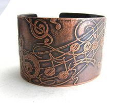 Music Notes Musical Staff Copper Etched Cuff Handmade Music Jewelry