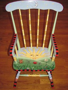 Hand Painted Child's Rocking Chair by TopDrawerArt on Etsy, $265.00