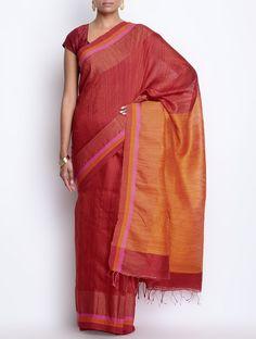 Buy Orange Red Cotton Silk Zari Border Handwoven Saree Sarees Woven Online at Jaypore.com