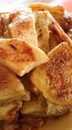 Apple Pie French Toast Casserole-instead of three apples I would use a can pie filling and add the cinnamon sugar on top as requested.