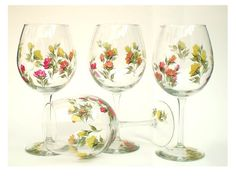 Hand Painted Wine Glasses  Summer Roses in by HandPaintedPetals, $58.00