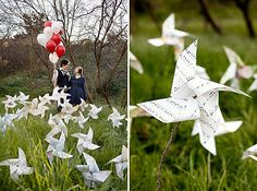 If you've got an outdoor wedding with lots of grassy space, decorate it with rustic pinwheels like these, which are made from twigs and old maps and music sheets.