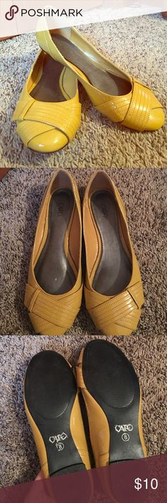 Cato Mustard Patent Ballet Flats Cato Mustard yellow ballet flats. Size 8. Good preloved condition. Couple of small scuffs but nothing too bad. A beautiful shoe and a definite must have! Smoke free and pet free home. Always open to offers and bundling Cato Shoes Flats & Loafers