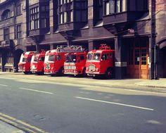 Old Fire Engines at Hatton Garden Liverpool