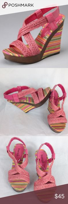new bucco pink printed wedges sandals size 6 new bucco size 6 platform wedges sandles with colorful printed stripes on heel.   cross posted. pet free smoke free home. free shipping like bcbg bucco Shoes