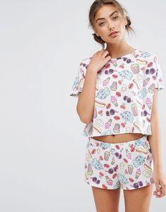 Image 1 - ASOS - Short et t-shirt de pyjama à imprimé nourriture et dinosaure