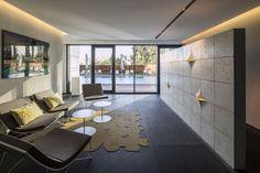 W Prime Lobby, Tel Aviv, Michal Han Interior Design Hall Interior Design, Lobby Interior, Visual Merchandising, Concrete Tiles, Design Furniture, Office Interiors, Interior Office, Sitting Area, Stores