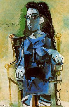 Pablo Picasso >> Jacqueline sentada junto a su gato  | ♥♥♥