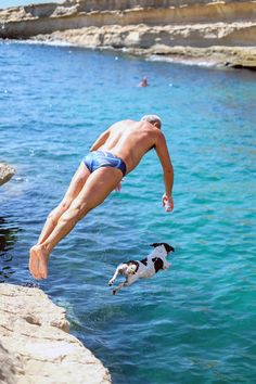 Jack Russell cliff dives with his human in Sicily.