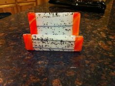 Fused glass business card holder.