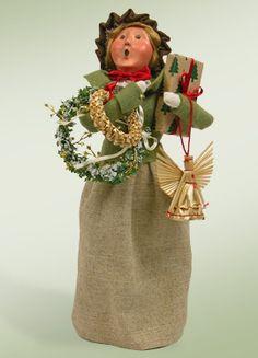 Straw Ornament Family Woman Caroler figurine Byers Choice New 2012