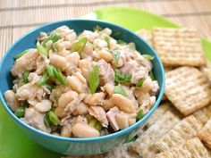 Tuna and White Bean Salad- I like to alter this recipe to what I have in my kitchen. Frozen green peas, onion, mix of greek yogurt and mayo, etc.