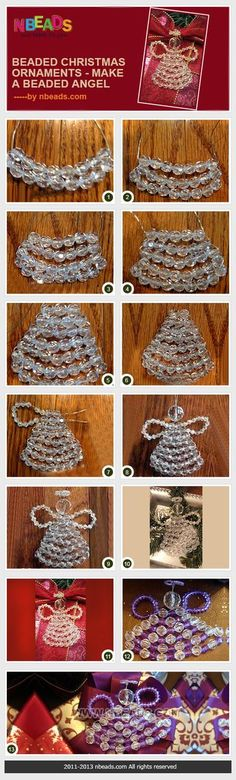 beaded christmas ornaments - make a beaded angel #Joulu