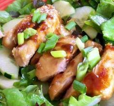Asian Grilled Chicken Salad www.losewithskinnyfiber.com  Ingredients 1/4 teaspoon ground ginger 1/3 cup honey 1/3 cup red wine vinegar 4 boneless skinless chicken breast halves 1/4 cup vegetable oil 1 tablespoon Dijon mustard 1/3 cup Worcestershire sauce 8 cups mixed greens Directions Place chicken breasts in a deep dish. In small bowl, whisk together all other ingredients EXCEPT lettuce. Pour half of this mixture over chicken, reserving remaining halv as dressing. Cover breasts & ...