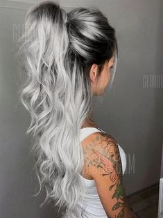 Synthetic wigs look real, Middle Part Long Ombre Hair Wavy Party Synthetic Wig A good accessory for Long Ombre Hair, Brown Ombre Hair, Ombre Hair Color, Blonde Ombre, Hair Colour, Grey Ombre, Ombre Silver Hair, Silver Hair Asian, Curly Silver Hair