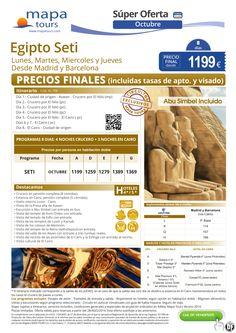Egipto Seti Oct Madrid y Barcelona**Precio Final** ultimo minuto - http://zocotours.com/egipto-seti-oct-madrid-y-barcelonaprecio-final-ultimo-minuto-2/