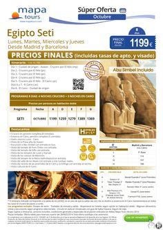 Egipto Seti Oct Madrid y Barcelona**Precio Final** ultimo minuto - http://zocotours.com/egipto-seti-oct-madrid-y-barcelonaprecio-final-ultimo-minuto-2/