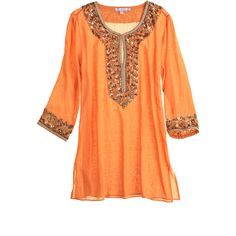 Calypso St. Barth Sage Cotton Sequined Tunic ($225) ❤ liked on Polyvore