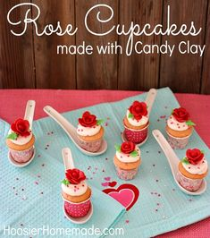 Valentine's Day Cupcakes with Candy Clay Roses   Instructions on HoosierHomemade.com Fancy Cupcakes, Valentine Day Cupcakes, Holiday Cupcakes, Valentines Day Food, Amazing Cupcakes, Delicious Cupcakes, Mini Cakes, Cupcake Cakes, Rose Cupcake