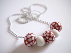 Ploka dot glass red & white bead necklace on white by gtgadabout, $29.80