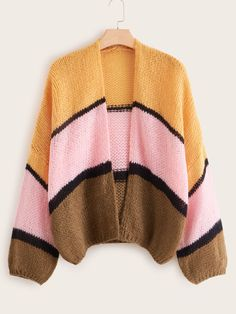 Plus Colorblock Chunky Knit Cardigan USD Chunky Knit Cardigan, Sweater Cardigan, Plus Size Cardigans, Types Of Sleeves, Leather Shoulder Bag, Color Blocking, Fashion News, Fashion Dresses, Style Inspiration