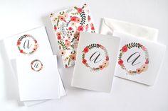 Personalized Stationery Set  Floral by PrintStitchAndPaste on Etsy, $26.00