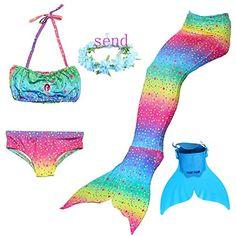 HUTUTU Ragazze Coda da Sirena Bikini Costumi da Bagno,Costume Cosplay Sirena.