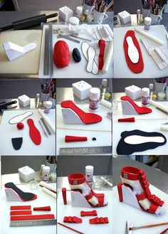 You will need: 1 of red fondant. 1 teaspoon of Tylose (CMC) of black fo… You will need: 1 of red fondant. 1 teaspoon of Tylose (CMC) of black fondant. Template Nife cornflour smover rolling pin fondant glue (Tylose with water) wood skewers wire Fondant Shoe Tutorial, Cake Tutorial, Fondant Toppers, Cake Decorating Techniques, Cake Decorating Tutorials, Decorating Supplies, Shoe Cakes, Cupcake Cakes, High Heel Cakes