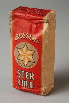 Pakje thee van Van Rossem, 100 gram Sterthee, Regeeringsmelange Rotterdam, Vintage Packaging, Package Design, Coffee, Cigars, Branding, Everything, Nostalgia, Kaffee