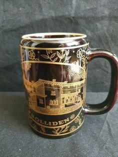 Vintage Sweden Rorstrand Ceramic mug Solliden black gold gilded goldplate #Rorstrand