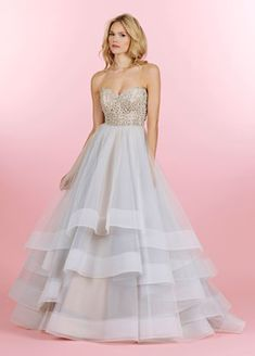 Hayley Paige Style HP6453 - Josie  Moonstone tulle bridal ball gown with alabaster and crystal sweetheart strapless bodice, tiered tulle skirt with wide horsehair trim and chapel train.